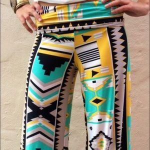 Pants - Aztec pattern wide leg pants